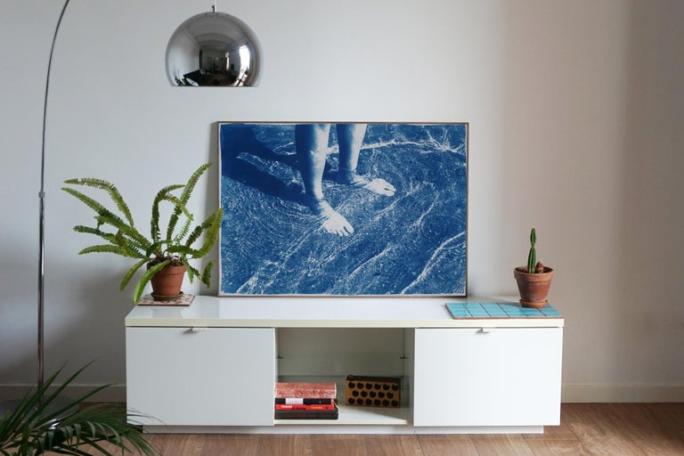 Greek Beach Bliss, Cyanotype on Watercolor Paper, 100x70cm, Beach Art, Greece - Contemporary Print by Kind of Cyan