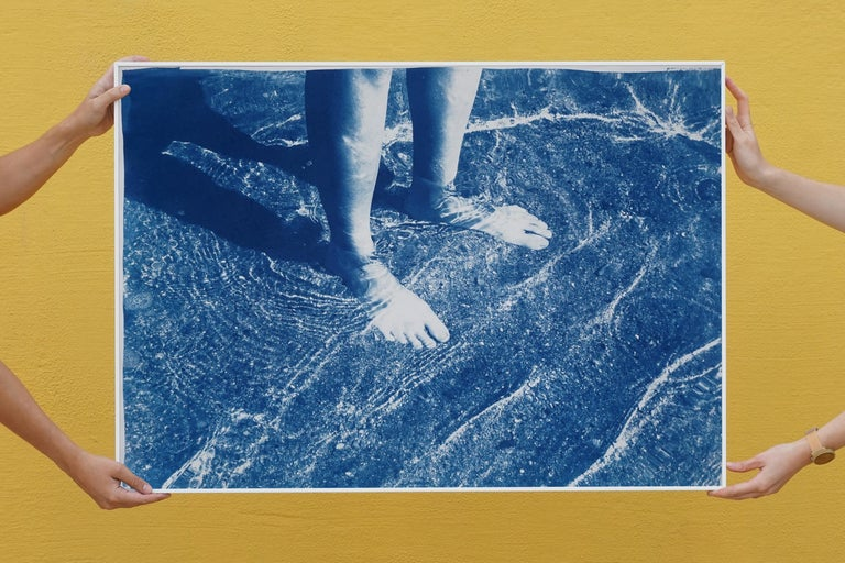Greek Beach Bliss, Cyanotype on Watercolor Paper, 100x70cm, Beach Art, Greece For Sale 2