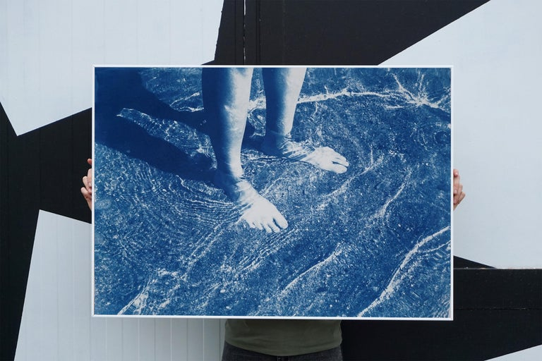 Greek Beach Bliss, Cyanotype on Watercolor Paper, 100x70cm, Beach Art, Greece For Sale 3