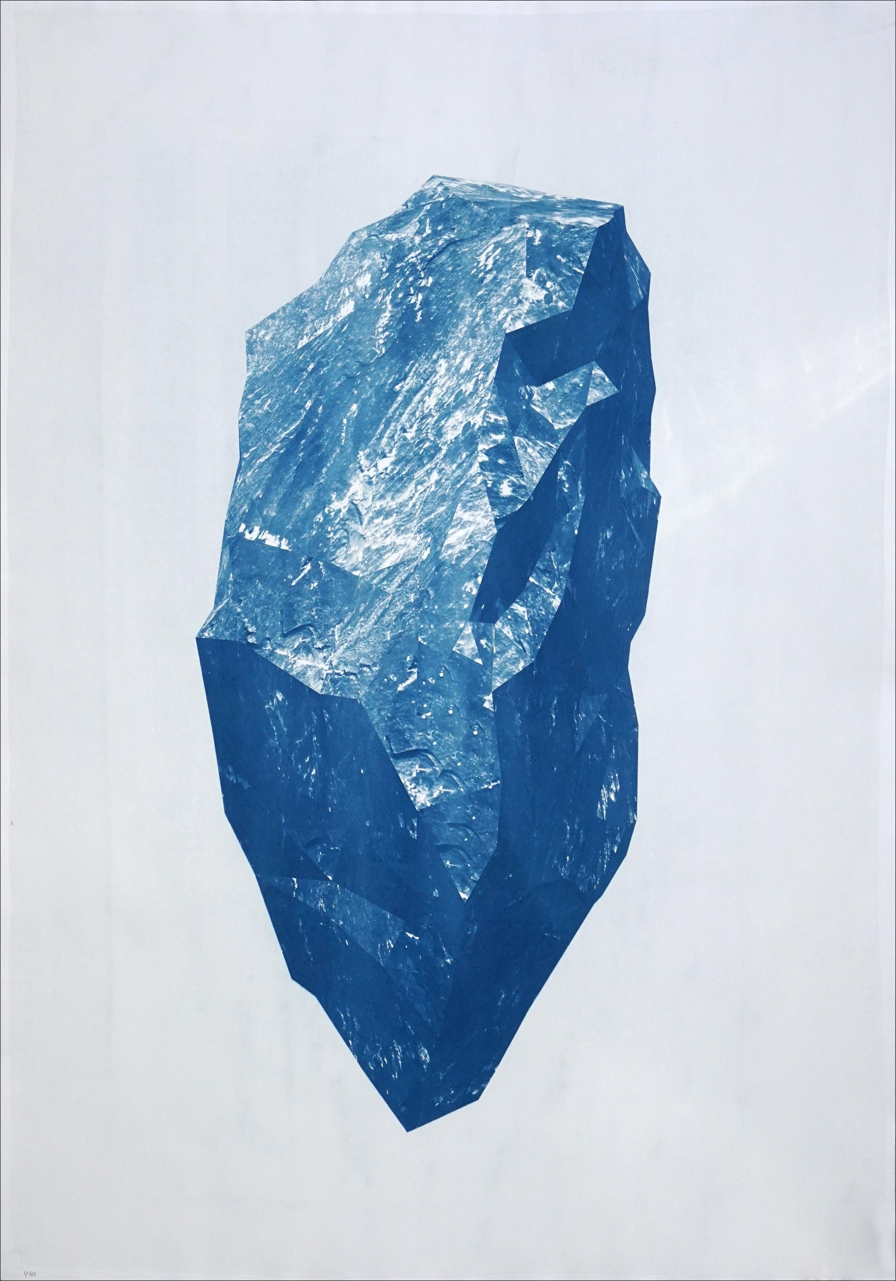 Sculpted Mineral Render, Cyanotype on Watercolor Paper, 3D Geology Art, 2021