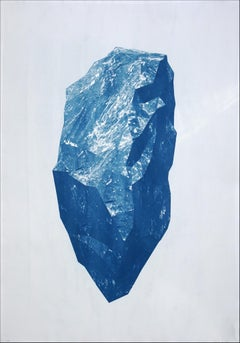 Sculpted Mineral Render, Cyanotype on Watercolor Paper, 100x70cm, Geology Art