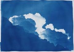 Yves Klein Clouds, Cyanotype on Watercolor Paper, 100x70cm, Blue Art, Landscape