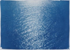 Tuscany Sea Reflections, Handprinted Cyanotype, Large Seascape, Water Reflection
