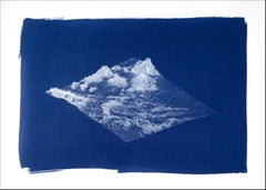 3D Render Mountain Landscape, Analogue Cyanotype, 100x70cm, Contemporary Pattern