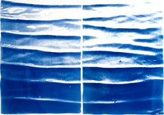 Diptych, Japanese Zen Pond Ripples, Feng Shui Cyanotype, Limited Edition Print