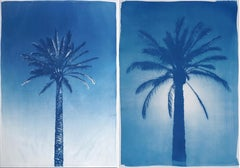 Duo of Egyptian Palms, 100x140 cm, Botanical Cyanotype on Paper, Vintage Modern