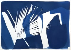 Palm Leaf Shadows, Original Cyanotype on Watercolor Paper, 50x70 cm, Blueprint