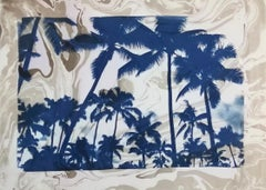 Palm Tree Cyanotype with Grey and Violet Sumi Ink Marbling on Paper,  50x70 cm