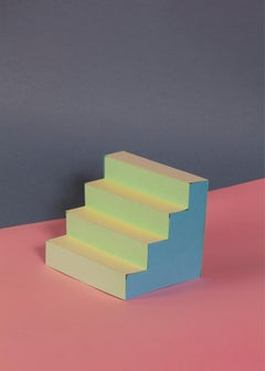 Naif Architecture with Pastel Palette, Contemporary Sol Lewitt Inspired