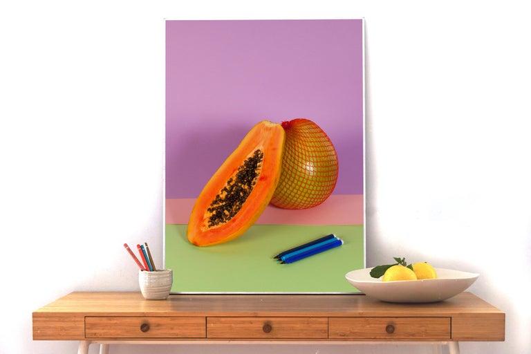 Burnt Orange Papaya, Contemporary Still Life, Tropical Scene, Exotic Fruit    - Photograph by Ryan Rivadeneyra