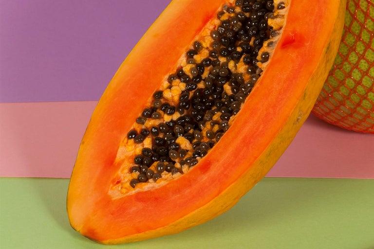 Burnt Orange Papaya, Contemporary Still Life, Tropical Scene, Exotic Fruit    For Sale 1