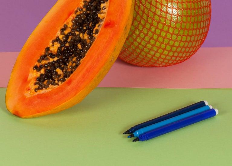 Burnt Orange Papaya, Contemporary Still Life, Tropical Scene, Exotic Fruit    For Sale 3