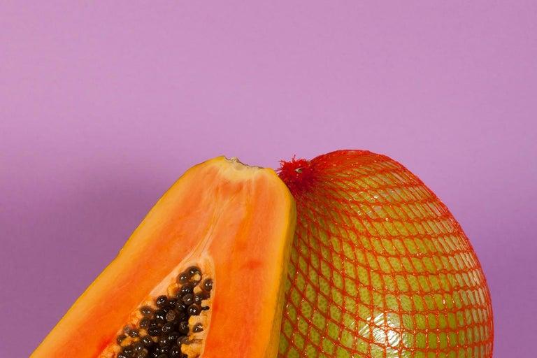 Burnt Orange Papaya, Contemporary Still Life, Tropical Scene, Exotic Fruit    For Sale 2