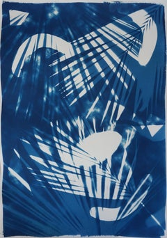 Tropical Palm Leaf Shades, Original Photogram on Watercolor Paper, Cyanotype