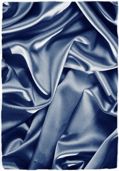 Smooth Fabric Composition, Classic Blue Cyanotype, Sensual Scene Large Painting
