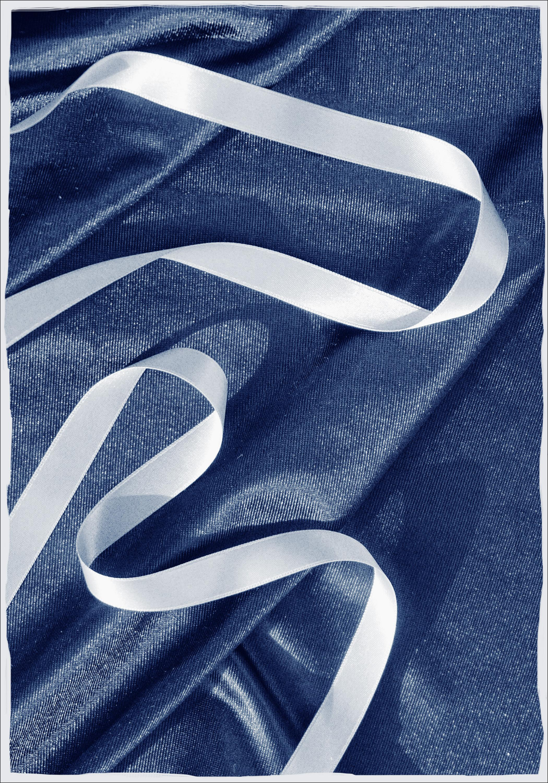 Classic Blue Cloth with Ribbon, Spiral Ballet Detail, Minimal Deep Blue Print