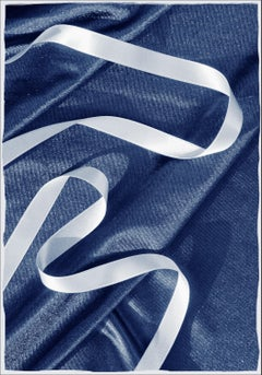 Classic Blue Cloth with Ribbon, Spiral Ballet Detail, Minimal Deep Blue Print