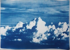 Blustery Clouds After a Storm, Sky Blue Handprinted Cyanotype, Meaningful Scene