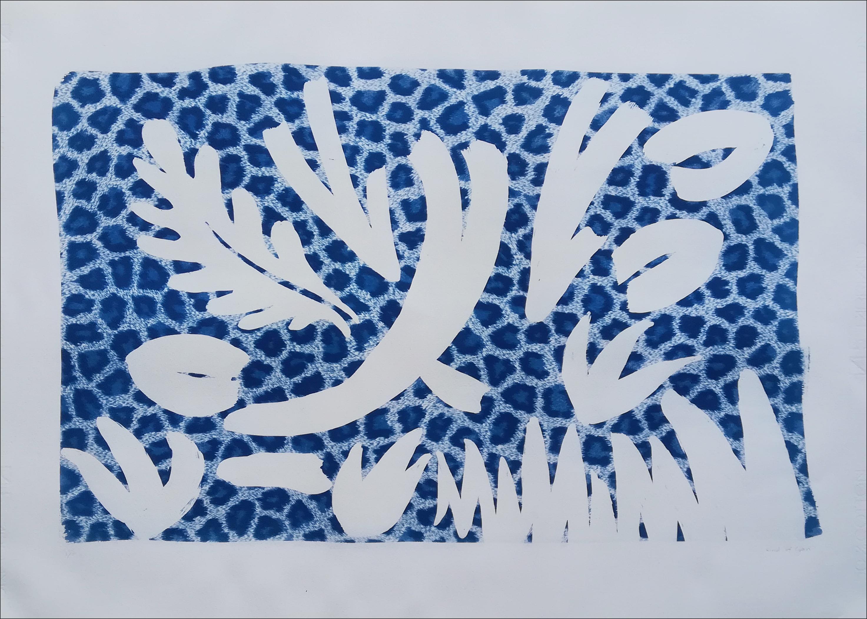 Botanical Garden Shapes on Animal Print Background, Handmade Photogram or Mono