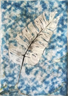 Traditional Cyanotype Leaf with a Handmade Pastel Palette Marbling Touch
