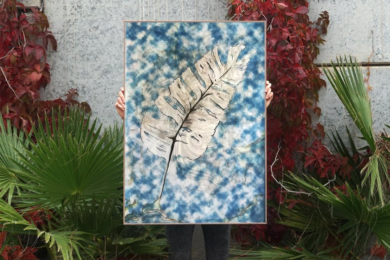 Traditional Cyanotype Leaf with a Handmade Pastel Palette Marbling Touch - Art by Kind of Cyan