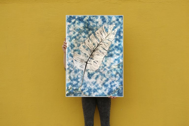 Traditional Cyanotype Leaf with a Handmade Pastel Palette Marbling Touch - Naturalistic Art by Kind of Cyan