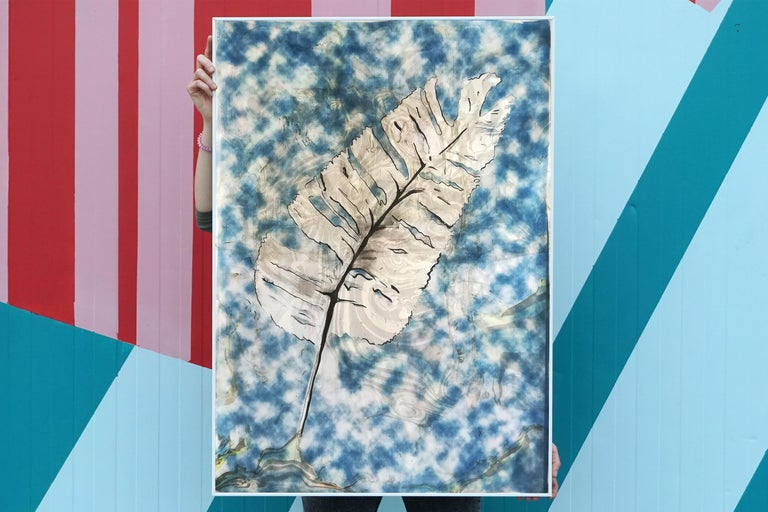 Traditional Cyanotype Leaf with a Handmade Pastel Palette Marbling Touch - Gray Abstract Drawing by Kind of Cyan