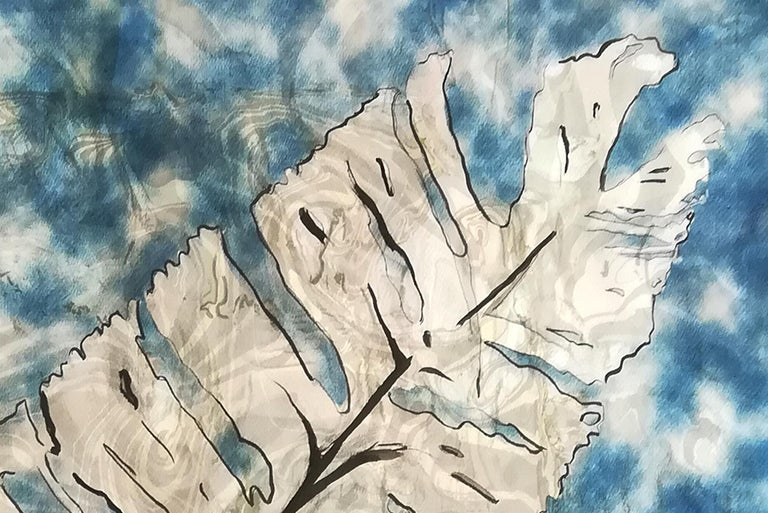 Traditional Cyanotype Leaf with a Handmade Pastel Palette Marbling Touch For Sale 1