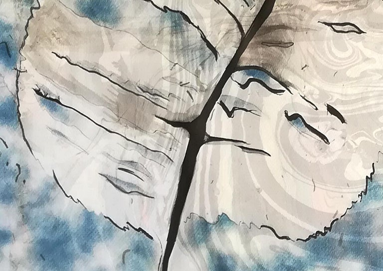 Traditional Cyanotype Leaf with a Handmade Pastel Palette Marbling Touch For Sale 4