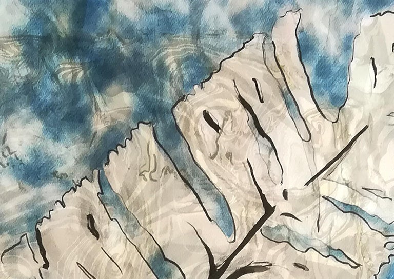 Traditional Cyanotype Leaf with a Handmade Pastel Palette Marbling Touch For Sale 6