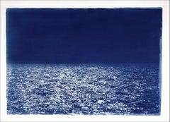Barcelona Beach Night Horizon, Cyanotype on Watercolor Paper, 100x70cm, Seascape