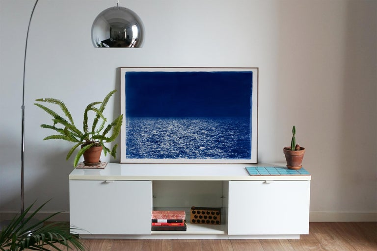 Barcelona Beach Night Horizon, Cyanotype on Watercolor Paper, 100x70cm, Seascape - Contemporary Print by Kind of Cyan
