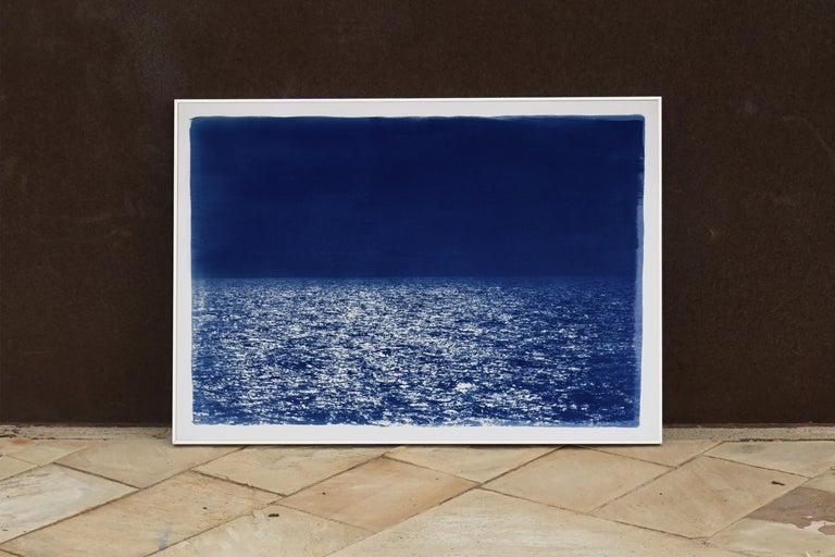Barcelona Beach Night Horizon, Cyanotype on Watercolor Paper, 100x70cm, Seascape For Sale 1