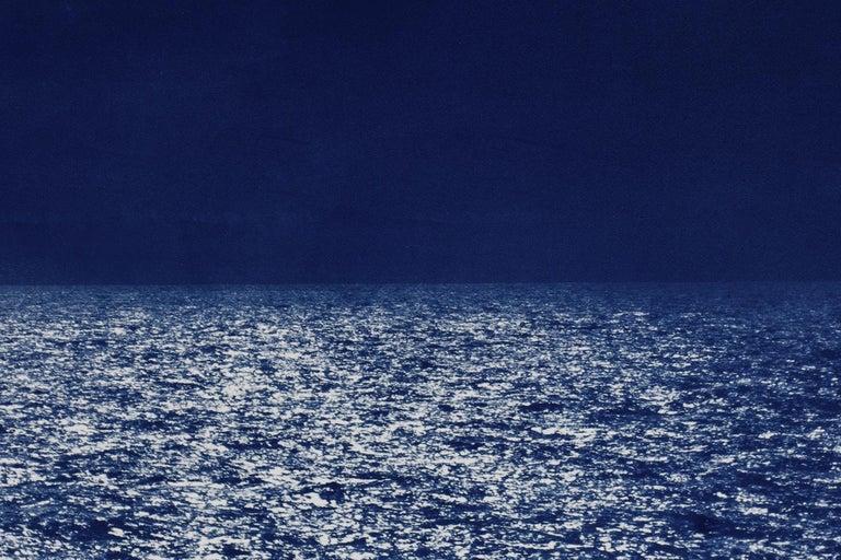 Barcelona Beach Night Horizon, Cyanotype on Watercolor Paper, 100x70cm, Seascape For Sale 2
