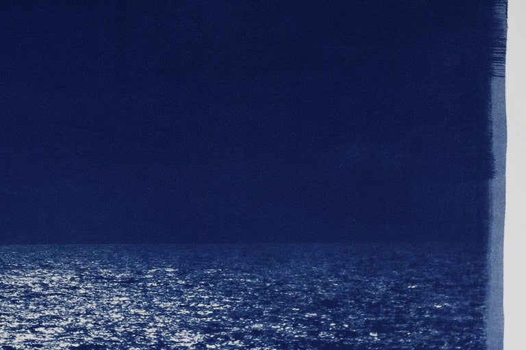 Barcelona Beach Night Horizon, Cyanotype on Watercolor Paper, 100x70cm, Seascape For Sale 4