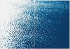 Smooth Bay in the Mediterranean, Classic Blue Diptych, Zen Seascape Coastal Life