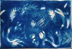 Botanical Shapes on Subtle Purple Marble, Classic Cyanotype on Watercolor Paper