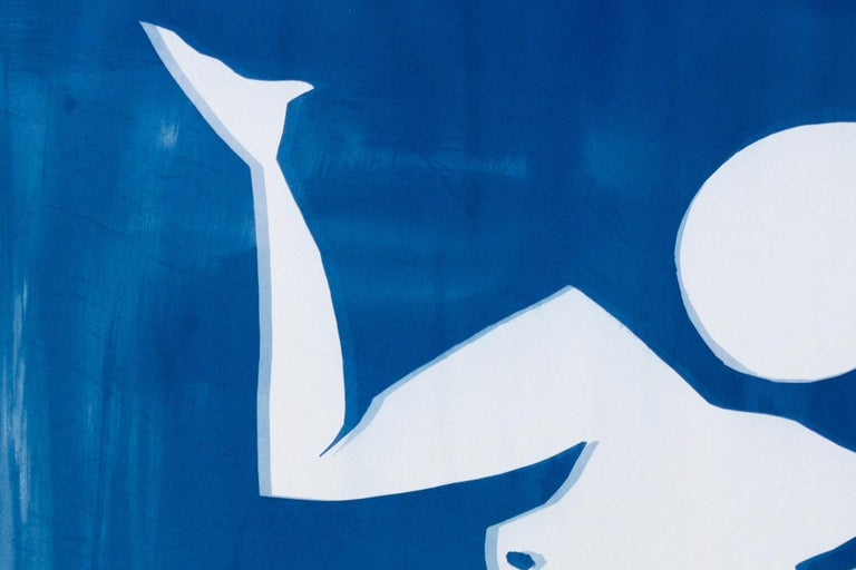 This is a unique cutout cyanotype on watercolor paper, inspired by Henri Matisse Blue Nudes.   Details: + Title: Matisse Cutout Inspiration + Edition Size: Unique / Monotype + Stamped and Certificate of Authenticity provided. + The paper measures