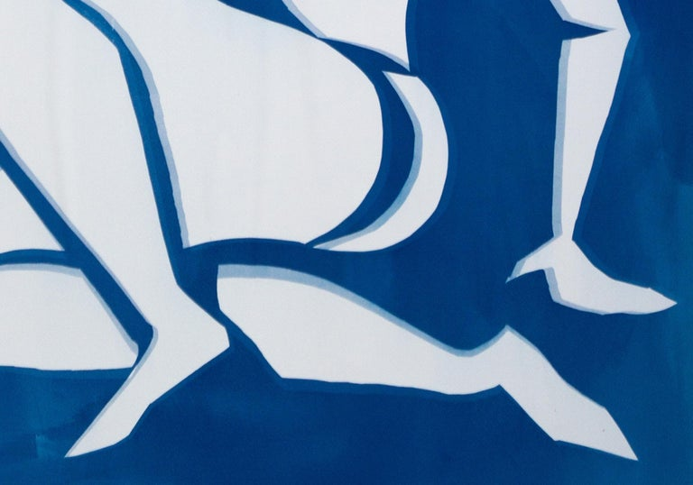 Matisse Cutout Inspiration, Blue Nude Classical Cyanotype on Watercolor Paper For Sale 2