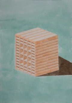 Green and Orange Brick, Hand Painted Watercolor on Paper, Ink Drawing, 100x70cm