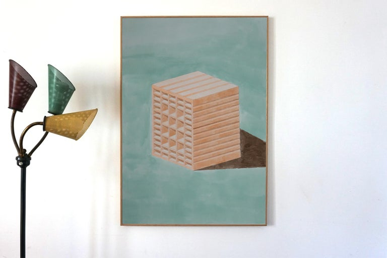 Green and Orange Brick, Hand Painted Watercolor on Paper, Ink Drawing, 100x70cm - Constructivist Painting by Ryan Rivadeneyra