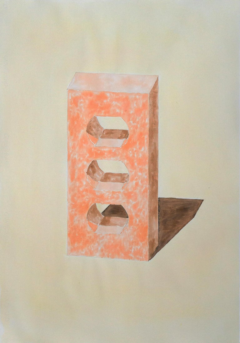 Ryan Rivadeneyra Still-Life - Yellow and Orange Brick, Hand Painted Watercolor on Paper, Ink Drawing, 100x70cm