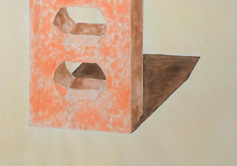 Yellow and Orange Brick, Hand Painted Watercolor on Paper, Ink Drawing, 100x70cm For Sale 1