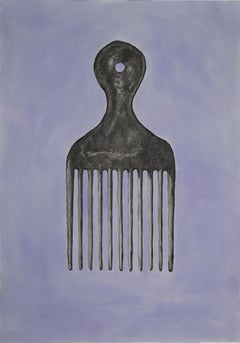 Blowout Comb in Purple, Hand Painted Watercolor on Paper, Ink Drawing, 100x70cm