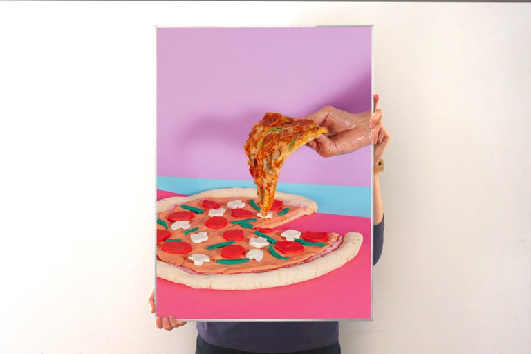 Still Life Pizza, Lively Foodie Scene, Contemporary Photography, Flashy Colors - Print by Ryan Rivadeneyra