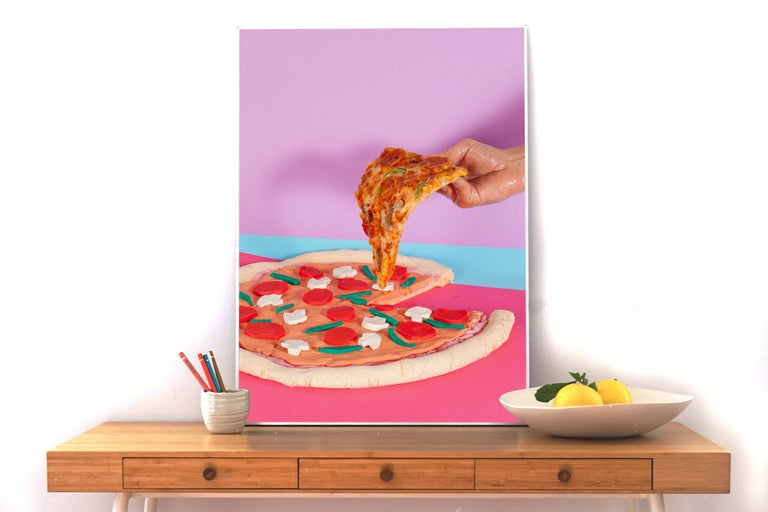 Still Life Pizza, Lively Foodie Scene, Contemporary Photography, Flashy Colors - 85 New Wave Print by Ryan Rivadeneyra