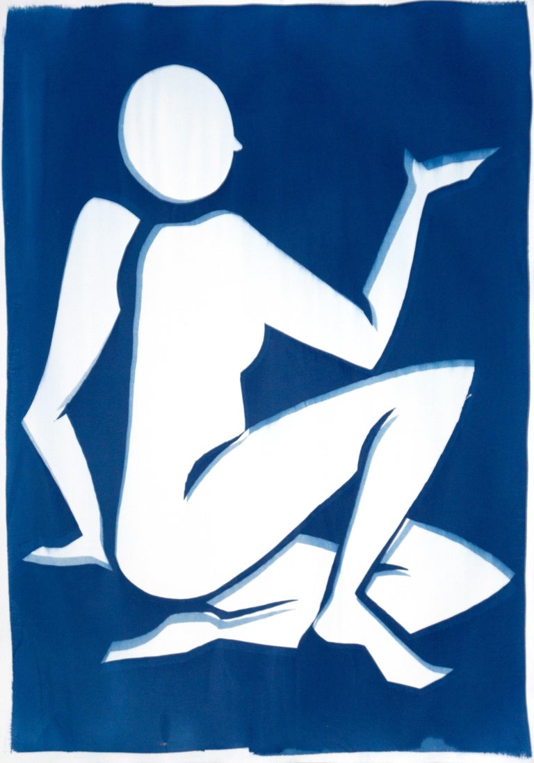 Kind of Cyan Nude Painting - Blue Nude Matisse Inspiration, Cutout Cyanotype on Paper, Yves Klein Blue, 2020