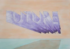 Future, Hand Painted Watercolor, Drawing, Ed Ruscha Style Large Word Art, 100x70