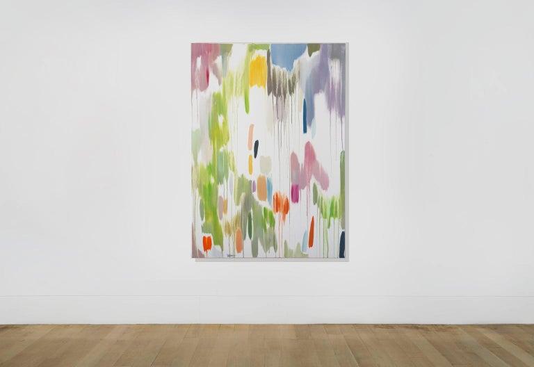 Tropical Vines Palette, Oil on Canvas 120x90cm Abstract Oil Painting Fresh Tones - Beige Landscape Painting by Natalia Roman