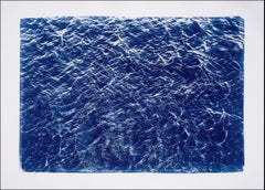 Pacific Ocean Currents, Cyanotype on Watercolor Paper, White Border, 100x70cm
